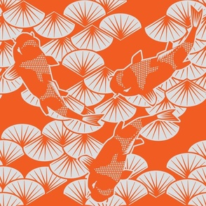 koi papercuts orange and gray pearl