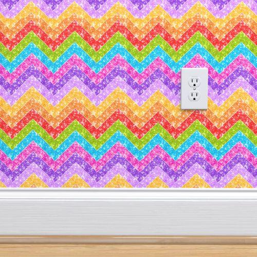 Wallpaper Sparkle Chevron Jewel Stripes Zig Zag Multi