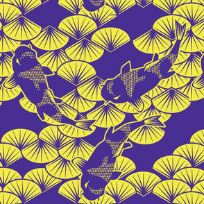 koi papercuts purple and chartreuse