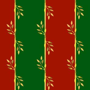 Red, Green & Gold Leaf Stripes