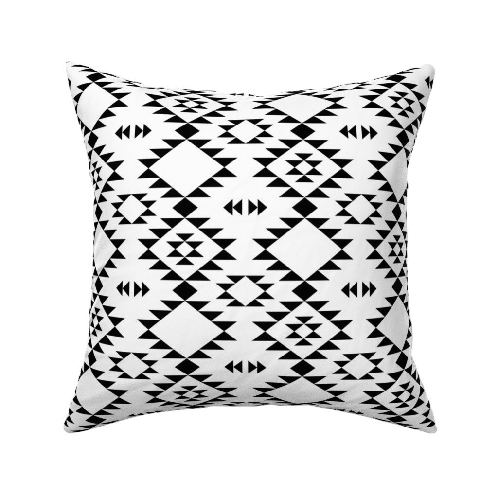 Catalan Throw Pillow featuring Navajo Black and White by kimsa