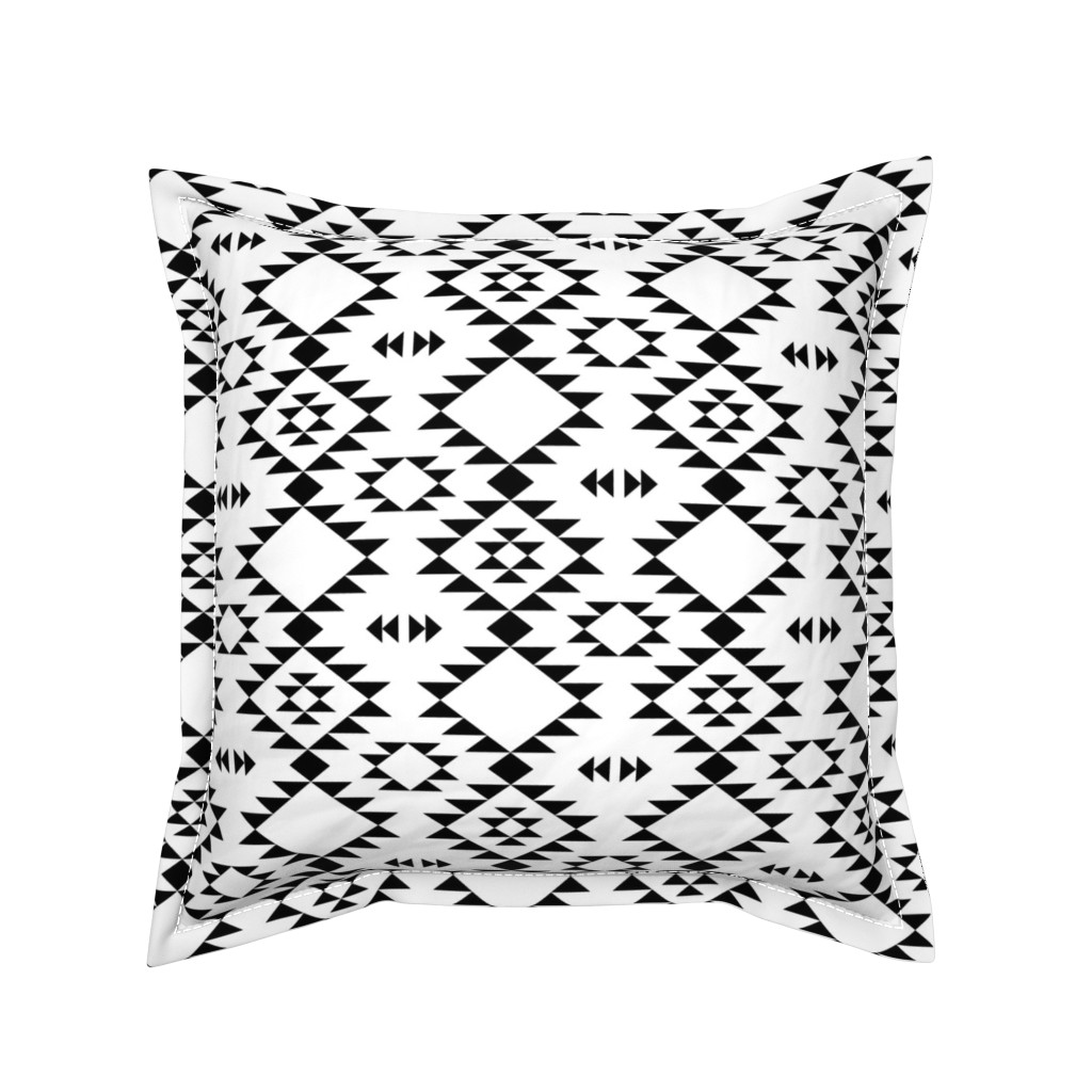 Serama Throw Pillow featuring Navajo Black and White by kimsa