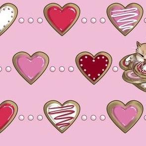 Kitten Sleeping on Sugar Cookie Hearts, Tea Party