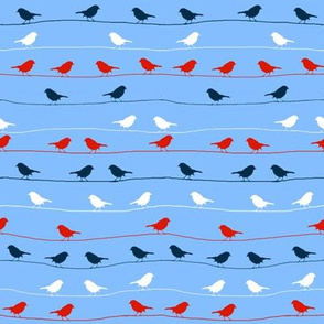 birds on a wire red white blue