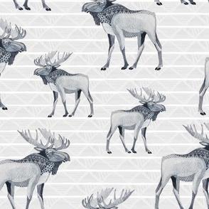 Tribal Moose in Grey