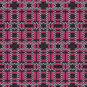 Plaid in dark pink white and black