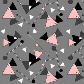 Abstract Geometric Grey Black Pink