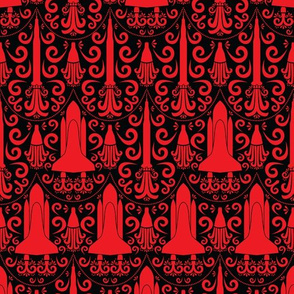 Rocket Science Damask (Black and Red)