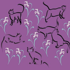 Cats in the garden-fabric3-PURPLE