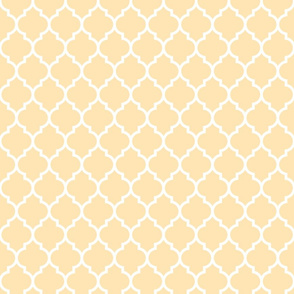 Quatrefoil moroccan lattice peach and white