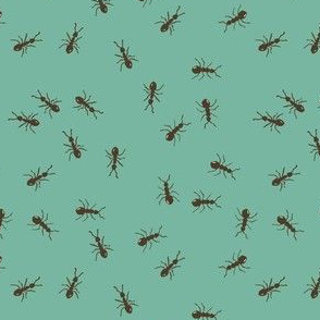 ants marching - teal green