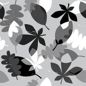 Falling leaves - grey