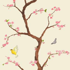 Jenny cherry blossoms on cream