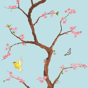 Jenny cherry blossoms on light blue