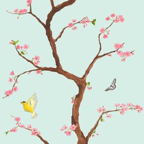 Jenny cherry blossoms on mint