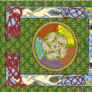 dog & rabbits celtic quilt