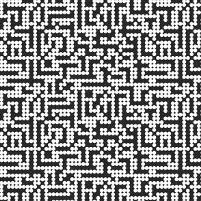 Pixels dots in white on black