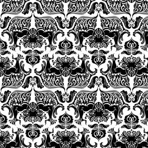 I Love Craft (Cthulhu Damask) black and white