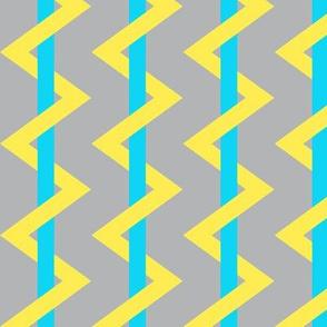 Stripe Chevron Gray Yellow Blue