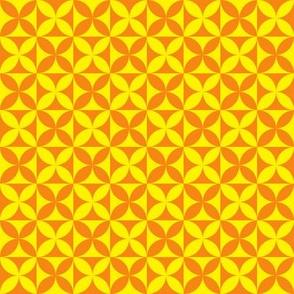 Plumeria Tapa Cloth Yellow Orange