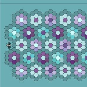 Grandmother's flower garden quilt-1c-with-honeybees