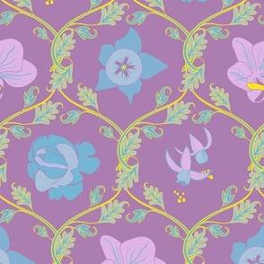 Summer Flowers - Diamond Leaf Scrolls - Purple Ground