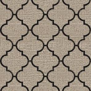 Moroccan Tile in Black on Linen
