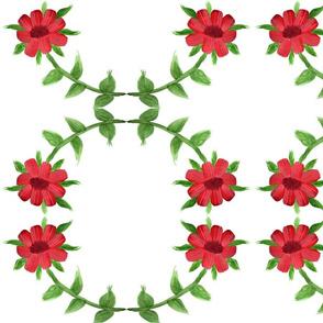 Red Burgundy Floral Circle