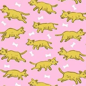 Prancing Pups with Bones   Pink
