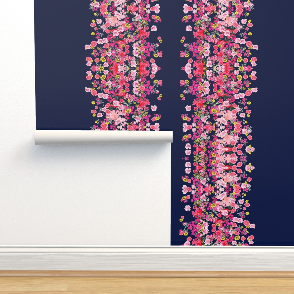 Hot Pink Floral Stripe On Navy On Isobar By Theartwerks Roostery