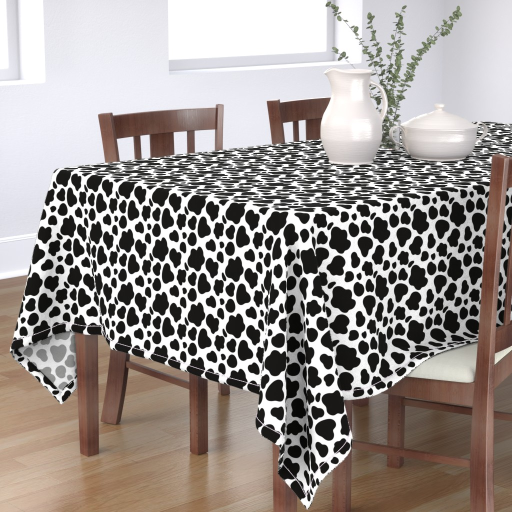 Bantam Rectangular Tablecloth featuring Cow Pattern. Black spots on white. by kostolom3000