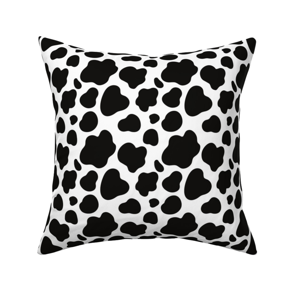 Catalan Throw Pillow featuring Cow Pattern. Black spots on white. by kostolom3000