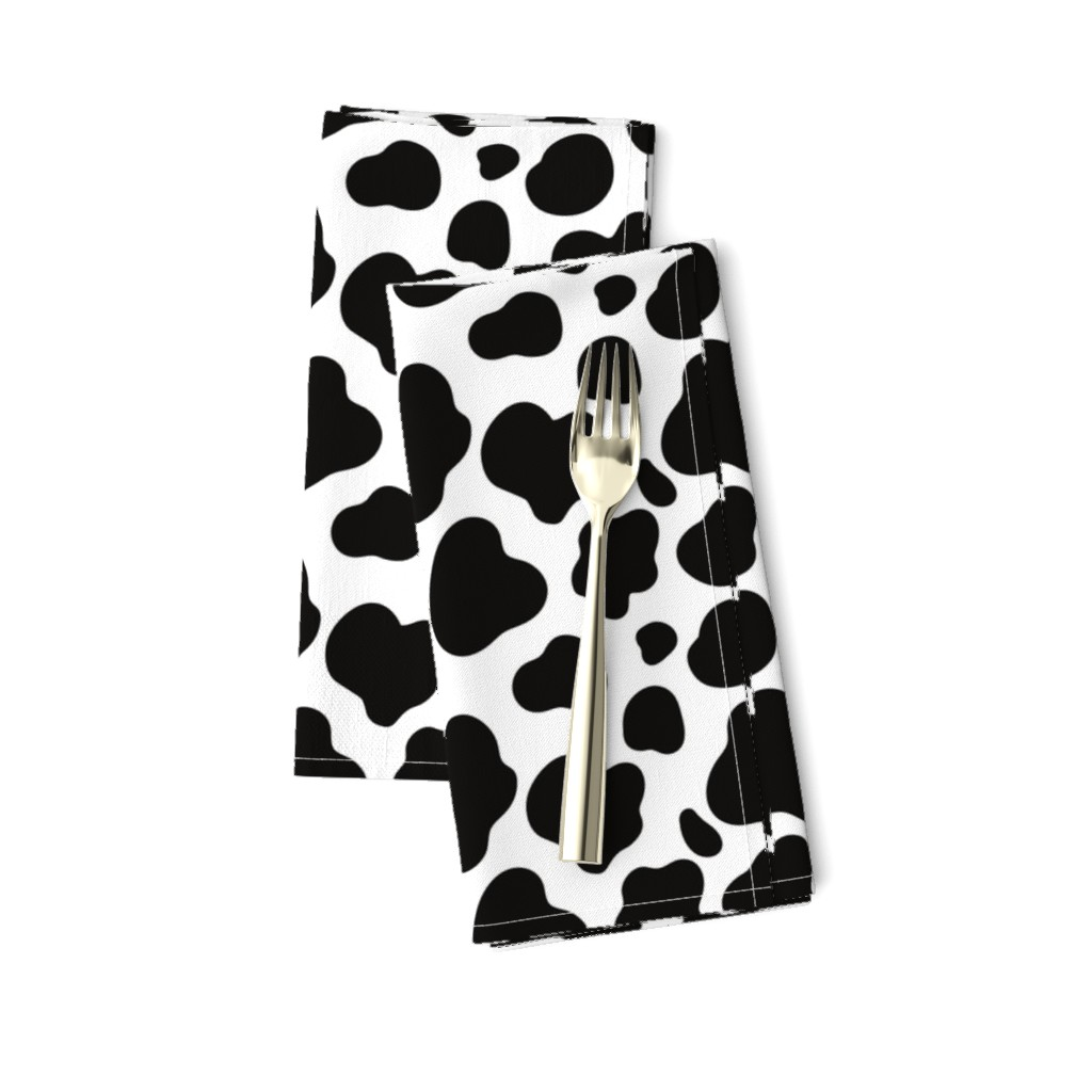 Amarela Dinner Napkins featuring Cow Pattern. Black spots on white. by kostolom3000