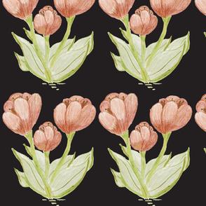 Extra Wild Tulips On Black