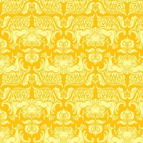 I Love Craft (Cthulhu Damask) Yellow