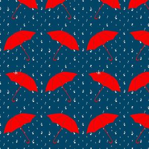 Red Umbrellas in Floral Rain