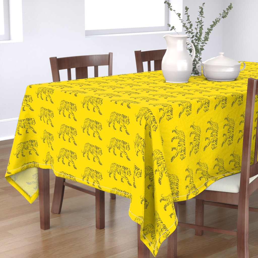 Bantam Rectangular Tablecloth featuring Tiger Calligram by blue_jacaranda