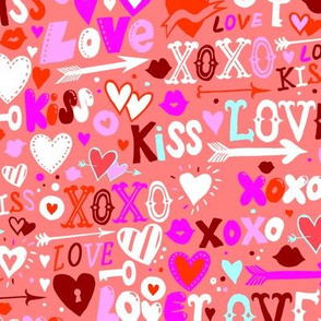 Colorful pink love doodles 18_0422