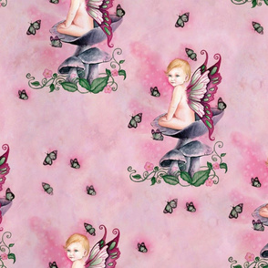 Pretty in Pink Baby Girl Fairy on Mushrooms by Selina Fenech