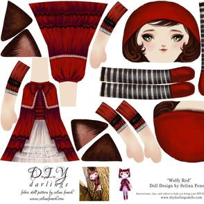 Cut and Sew Ragdoll Pattern Wolfy Red Riding Hood Doll by Selina Fenech
