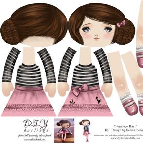 Cut and Sew Ragdoll Girl Doll Pattern by Selina Fenech