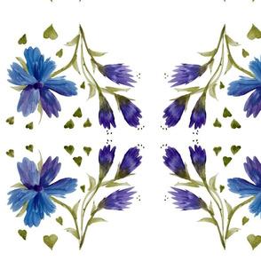 Blue Mauve Floral Heart