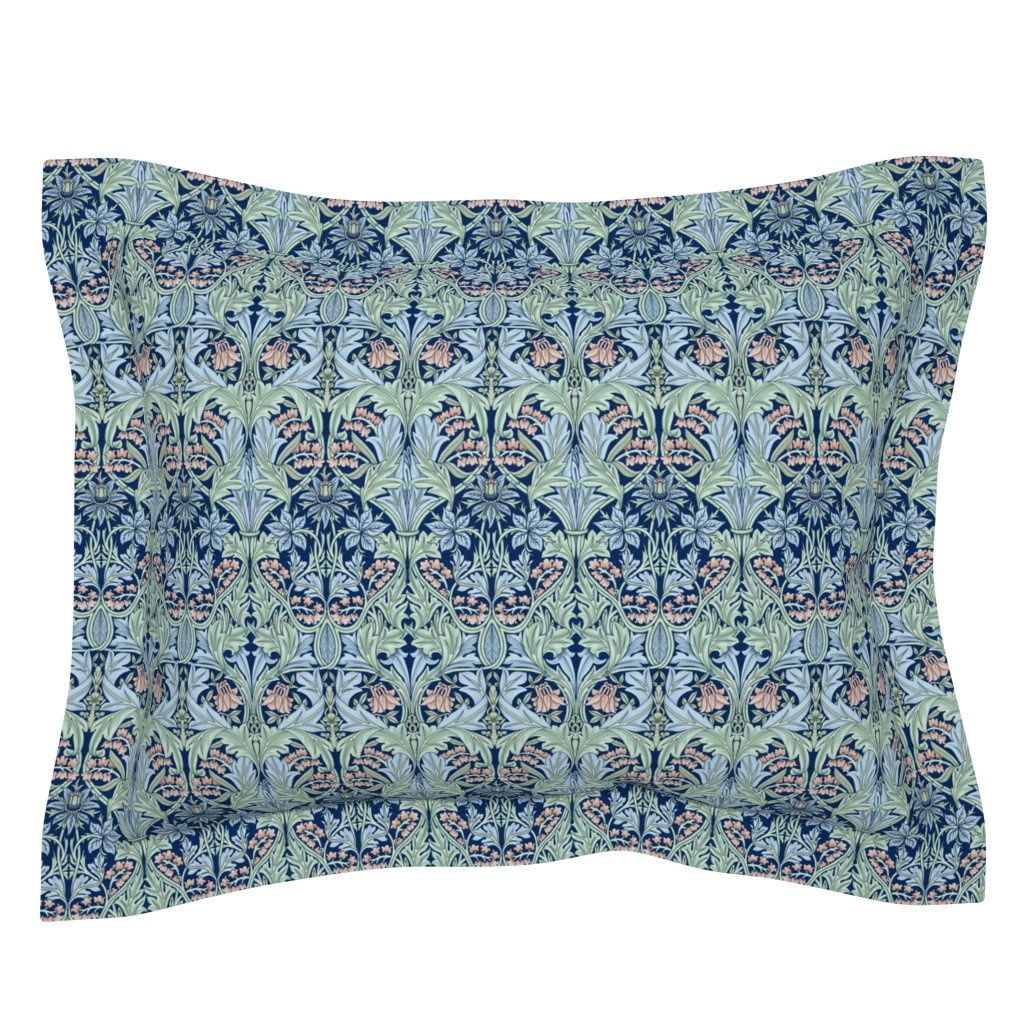Sebright Pillow Sham featuring William Morris Bluebell/Columbine by chantal_pare