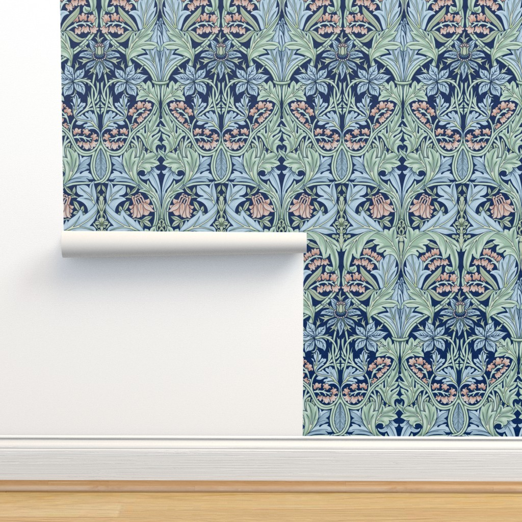 Isobar Durable Wallpaper featuring William Morris Bluebell/Columbine by chantal_pare