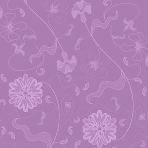 Floral Sprays - Purple Ground