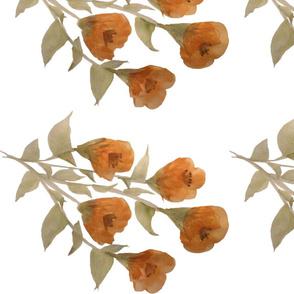 Golden Floral Rose - Fabric