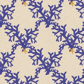 indigo_branch_coral_lattice_on_linen
