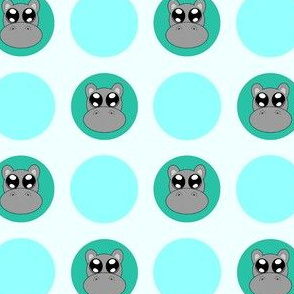 Teal Small Hippo Dots