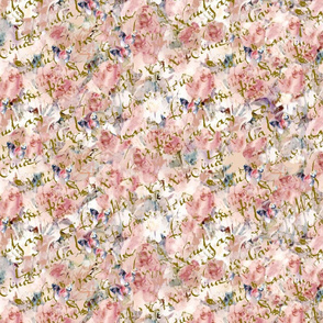 Shabby Chic Roses and Butterflies on French Script large repeat