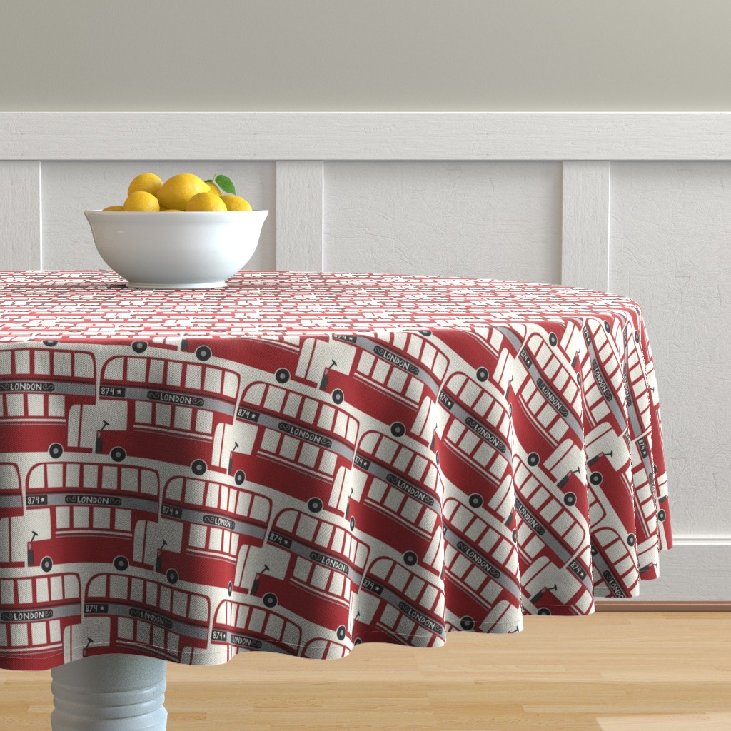 Malay Round Tablecloth featuring BIG_RED_BUS by stacyiesthsu